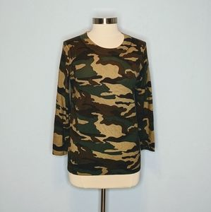 J Crew Camo Merino Wool Tippi Fit Sweater